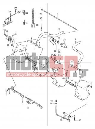 SUZUKI - GSF600S (E2) 2003 - Engine/Transmission - CARBURETOR FITTINGS (MODEL Y/K1/K2) - 13607-24F00-000 - NUT