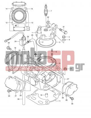 SUZUKI - RM250 (E2) 2002 - Engine/Transmission - CYLINDER (MODEL K1) - 09159-08049-000 - NUT
