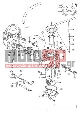 SUZUKI - GS500E (E2) 1994 - Engine/Transmission - CARBURETOR (MODEL T) - 13201-02DA0-000 - CARBURETOR ASSY, LH