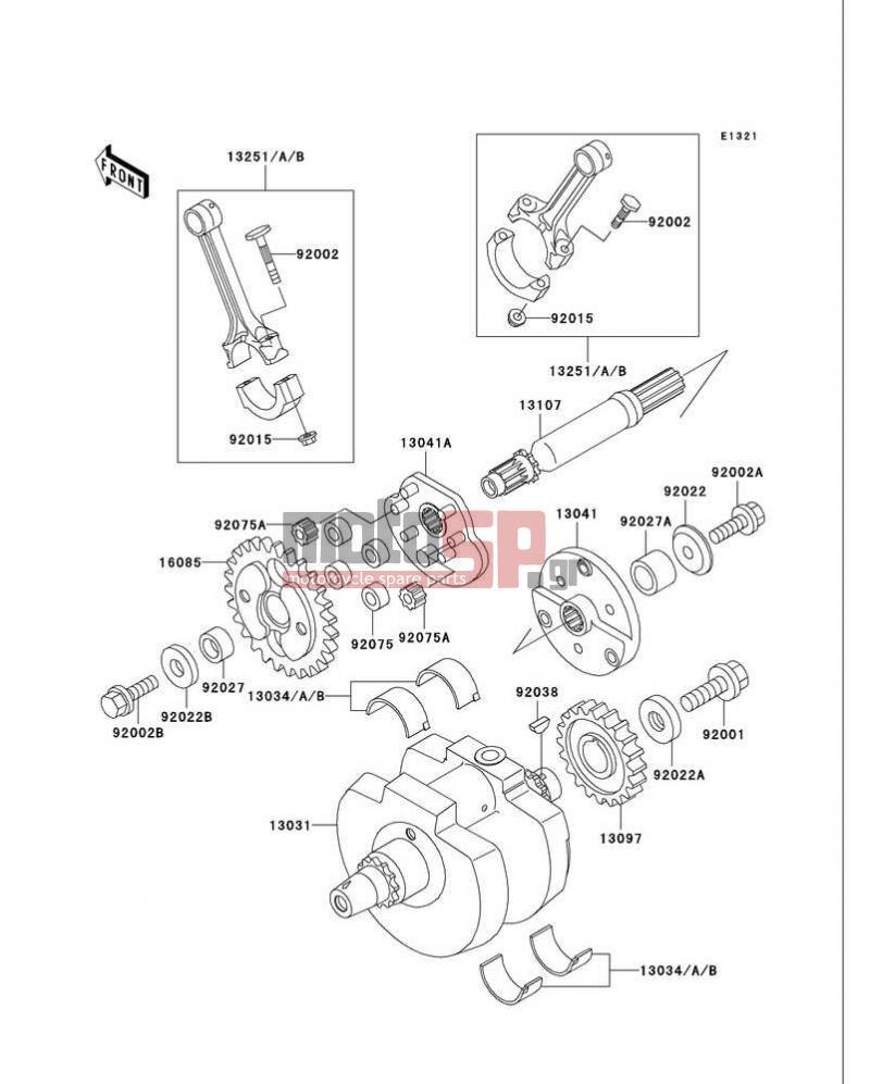 Motosp Kawasaki Vulcan 750 1999 Replacement Parts Vn750 Headlight Wiring Diagram Crankshaft
