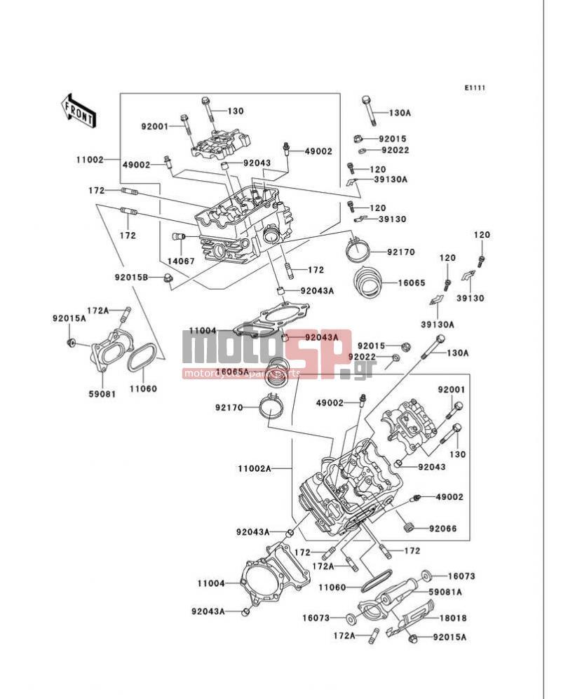 Motosp Kawasaki Vulcan 750 1999 Replacement Parts Vn750 Headlight Wiring Diagram Cylinder Head