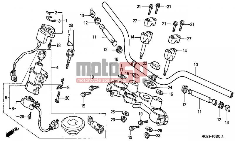 motosp - honda - xl650v  ed  transalp 2000 - frame  top bridge replacement parts