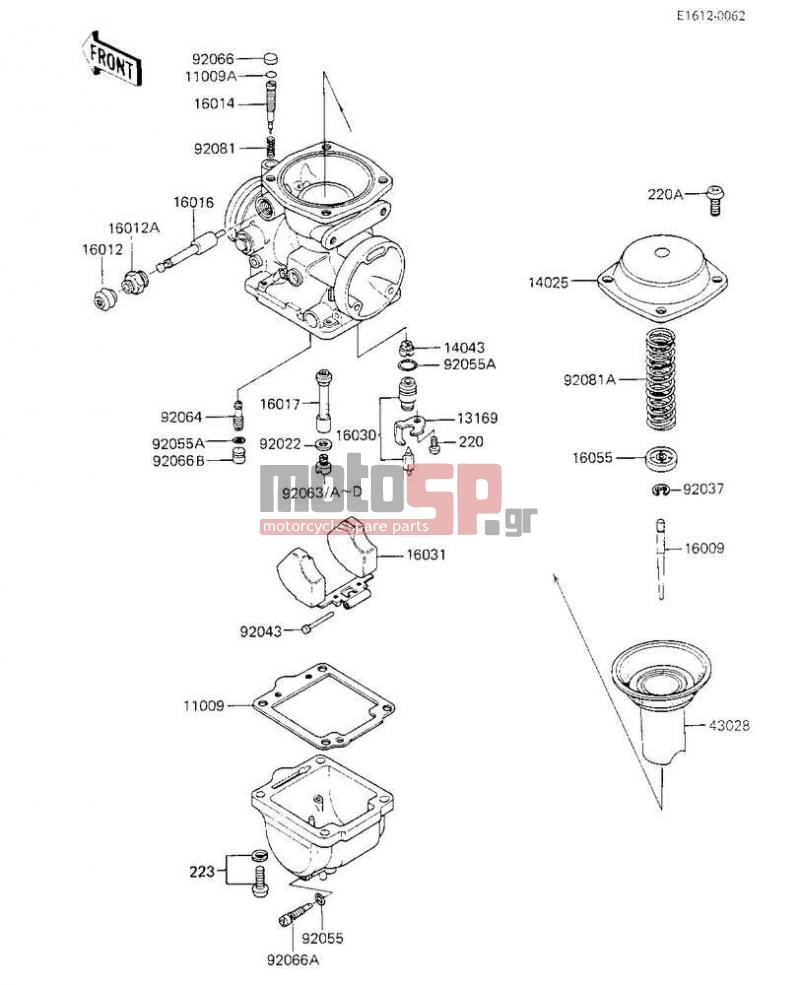 Motosp Kawasaki Kz700 A1 1984 Engine Transmission Carburetor 220 Diagram Parts