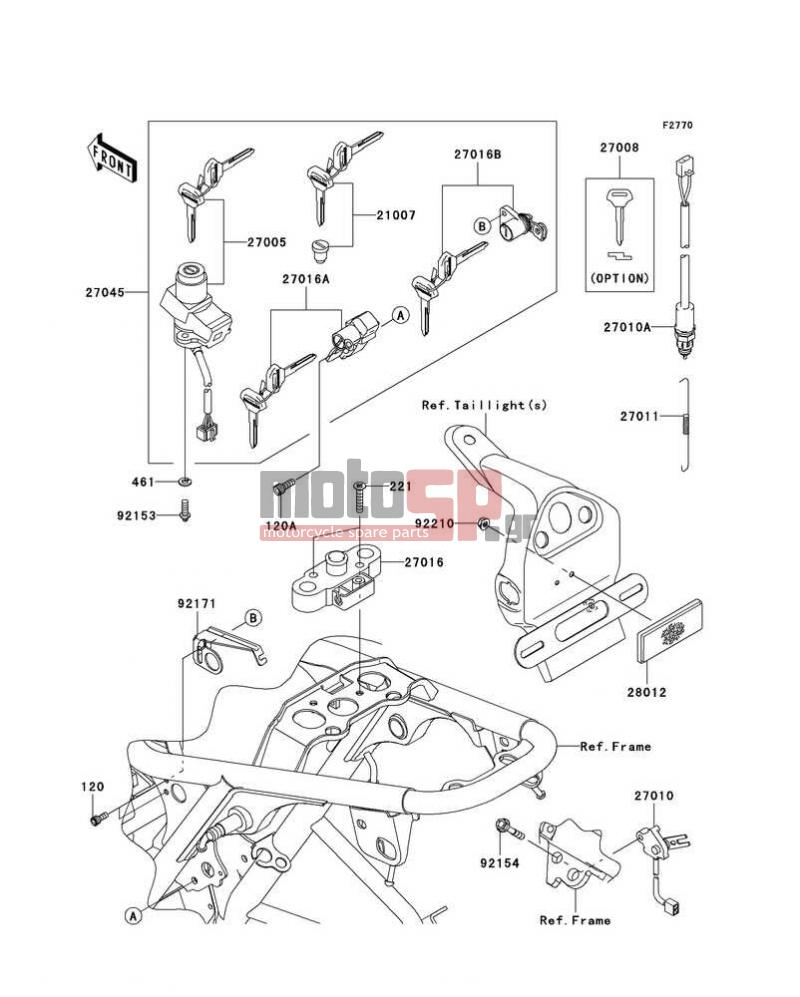 Motosp Kawasaki W800 European 2011 Electrical Replacement Parts Wiring Diagram Electricalignition Switch