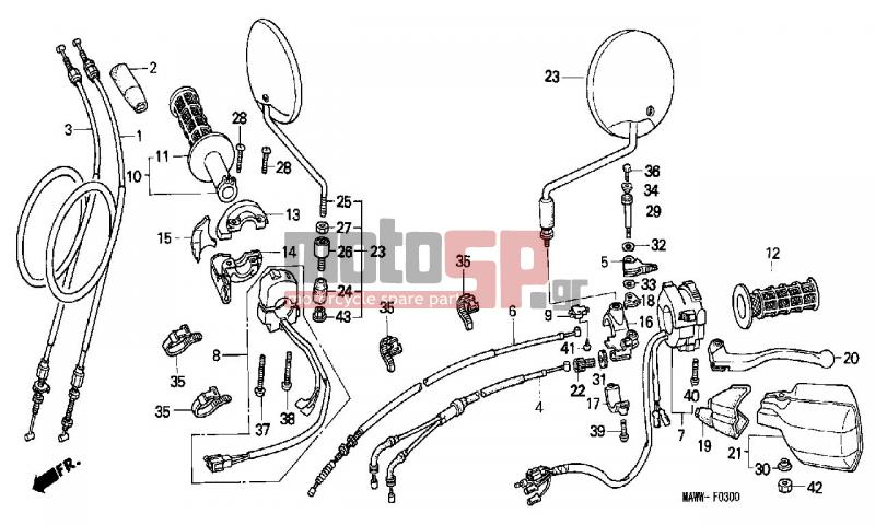 motosp - honda - xl600v  it  transalp 1998 - frame  cable replacement parts