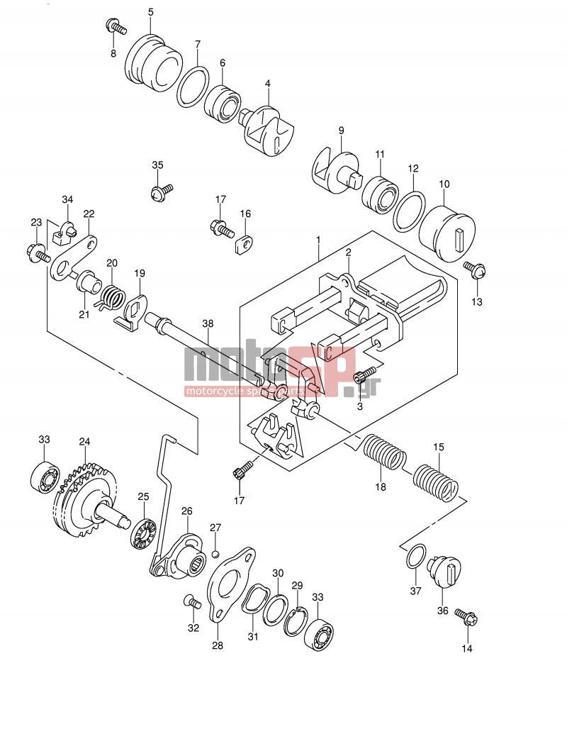 Motosp Suzuki Rm250 E2 2002 Engine Transmission Exhaust Rm 250 Diagram