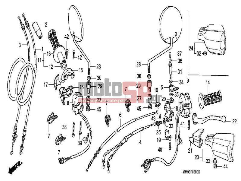 motosp - honda - xl600v  it  transalp 1990 - frame   cable replacement parts
