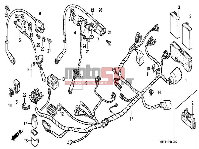 motosp - honda - xl600v  it  transalp 1990 - electrical   ignition coil