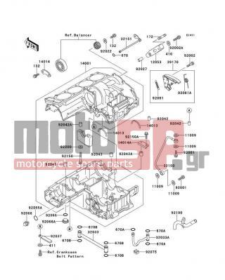 kawasaki - gpz 1100 1995 - engine/transmission - crankcase