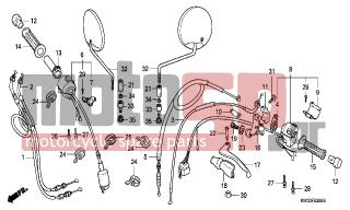 HONDA - NX250 (ED) 1993 - Frame - HANDLE LEVER/SWITCH/ CABLE - 17950-KBK-000 - CABLE COMP., CHOKE