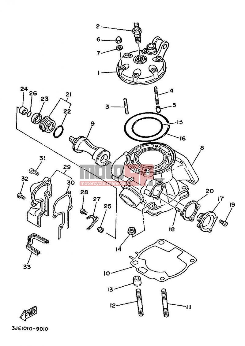 Motosp Yamaha Yz250 Eur 1989 Service Replacement Parts 1999 F350 Engine Diagram 2 Plug