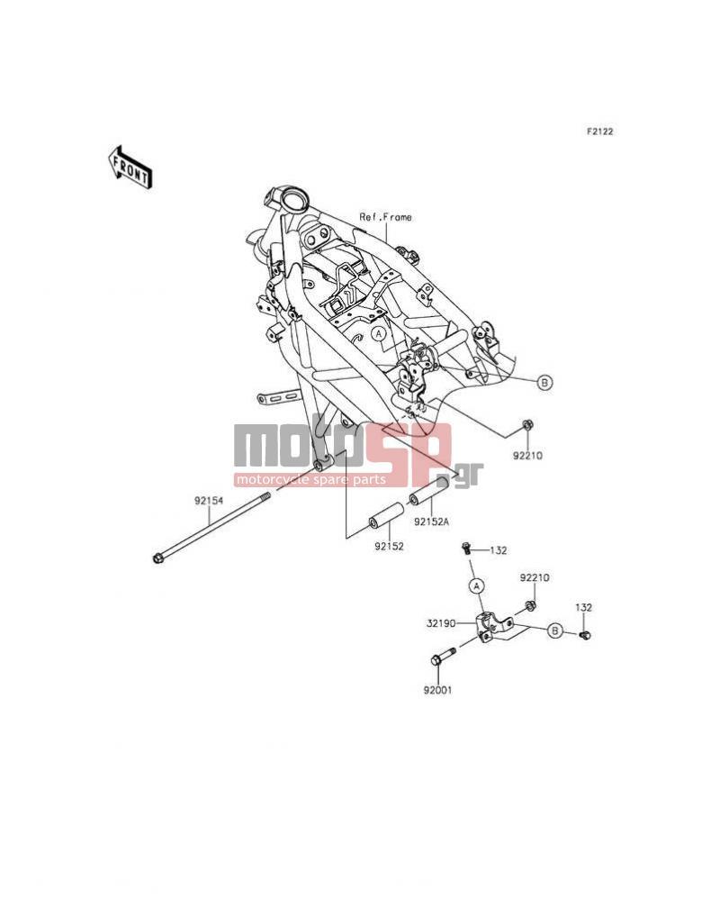 Motosp Kawasaki Z250sl 2014 Engine Transmission Replacement Parts Mounting Diagrams Transmissionengine Mount