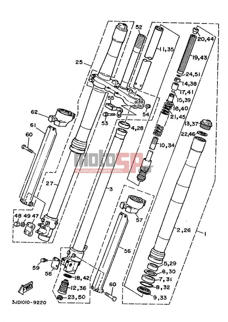Motosp Yamaha Yz250 Eur 1989 Replacement Parts Wiring Diagram Front Fork