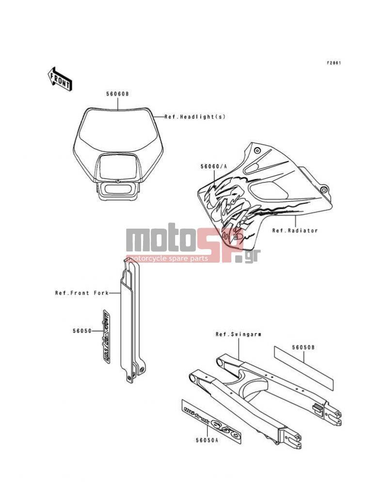 Motosp Kawasaki Klx650r 1994 Body Parts Replacement Wiring Schematic Klx 650 Partsdecalsklx650 A1 A2