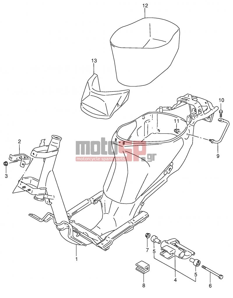 13516690830868237001352299388frame motosp suzuki ag100 x (e71) address 1999 replacement parts suzuki v100 wiring diagram at bayanpartner.co