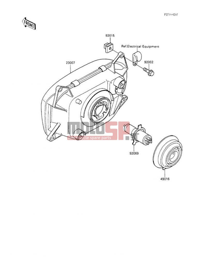 Motosp Kawasaki Ninja 600r 1992 Electrical Replacement Parts Motorcycle Wiring Diagrams Electricalheadlights