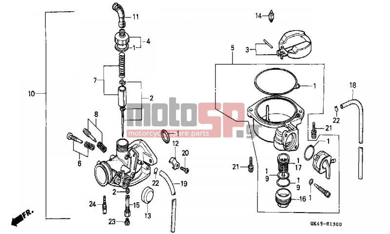 motoSP - HONDA - C50 (GR) 1992 - Engine/Transmission - CARBURETOR