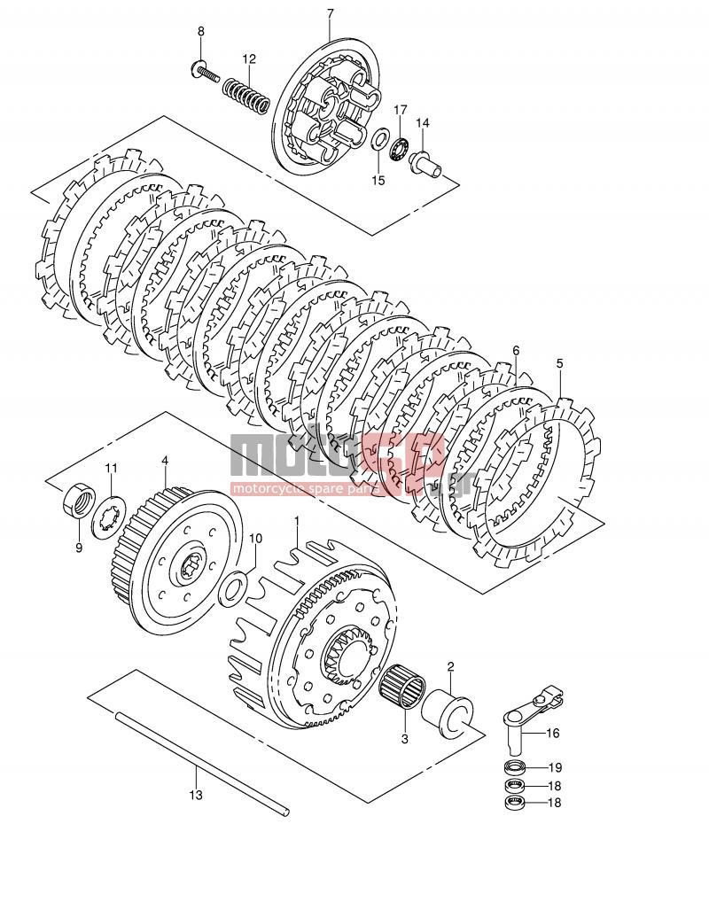 Motosp Suzuki Rm250 E2 2002 Engine Transmission Clutch Rm 250 Diagram