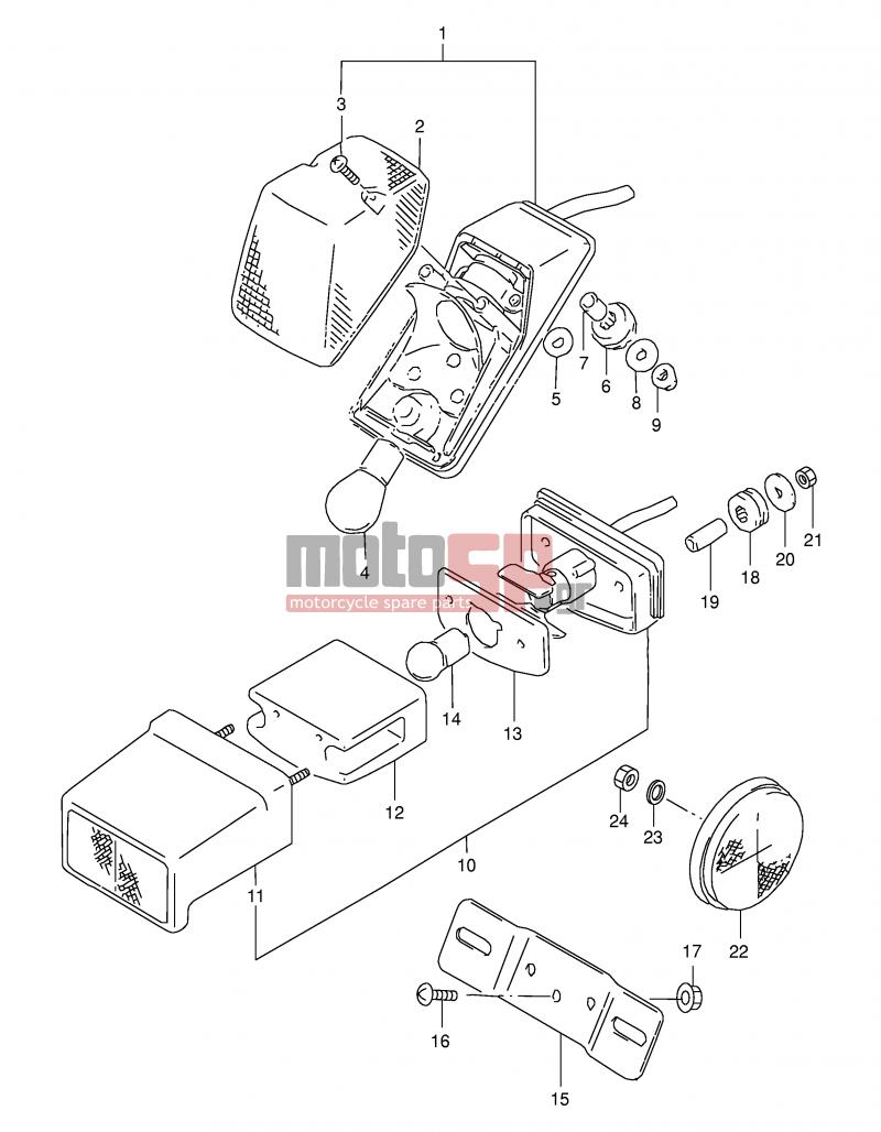 Motosp Suzuki Dr350se X E2 1999 Electrical Replacement Parts Wiring Diagram Electricaltail Lamp