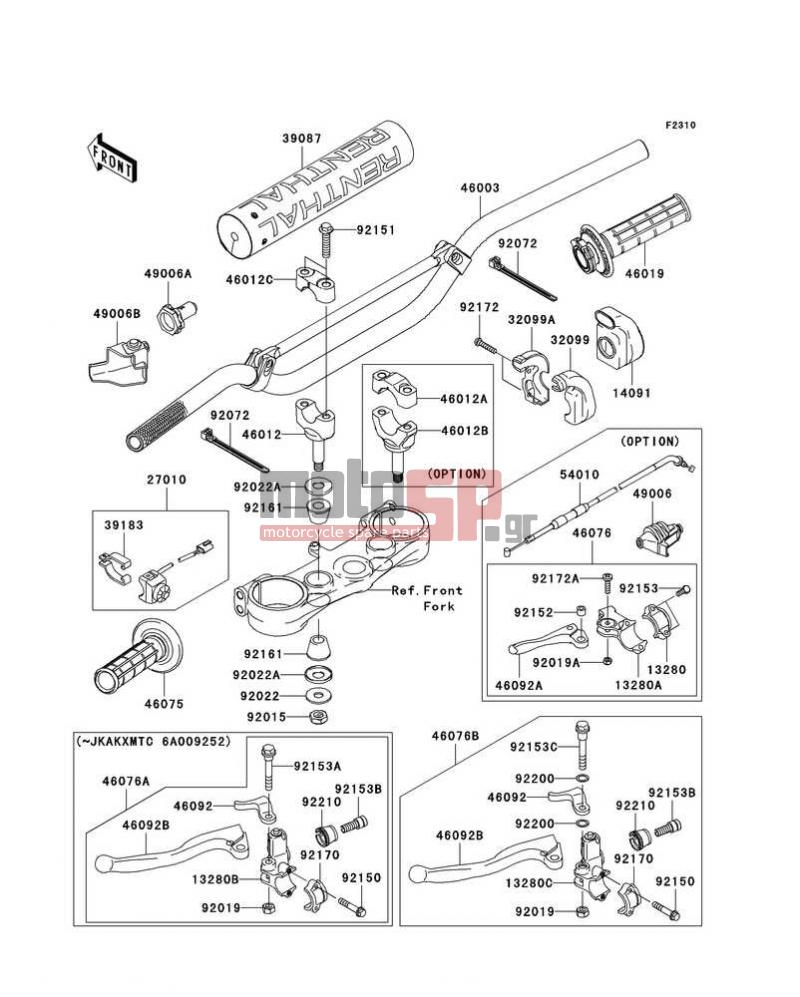 Motosp Kawasaki Kx250f 2006 Handlebar Replacement Parts Wiring Diagram