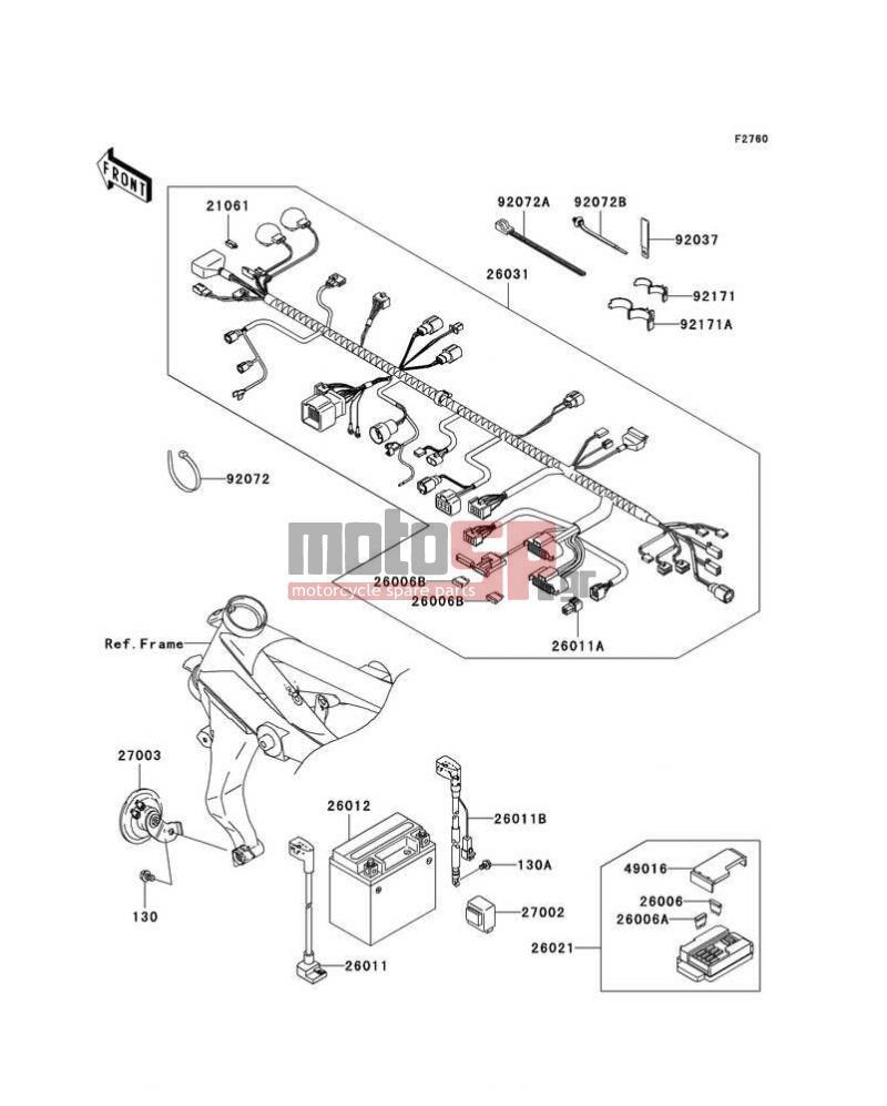 Motosp Kawasaki Z1000 European 2006 Chassis Electrical Wiring Diagram Equipment
