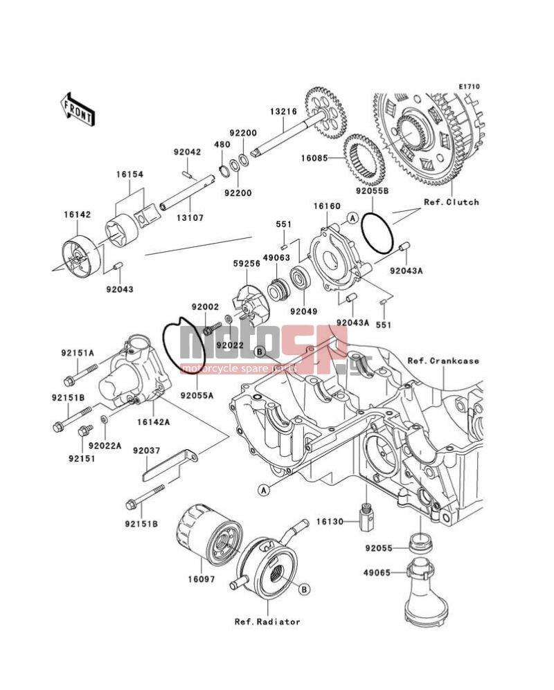 Motosp Kawasaki Z1000 European 2006 Engine Transmission Lighting System Circuit Transmissionoil Pump Oil Filter