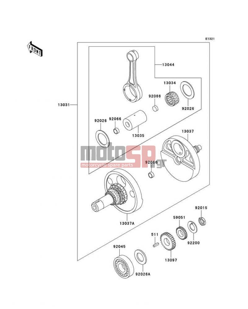 Motosp Kawasaki Klr650 2004 Replacement Parts Engine Diagram Crankshaft