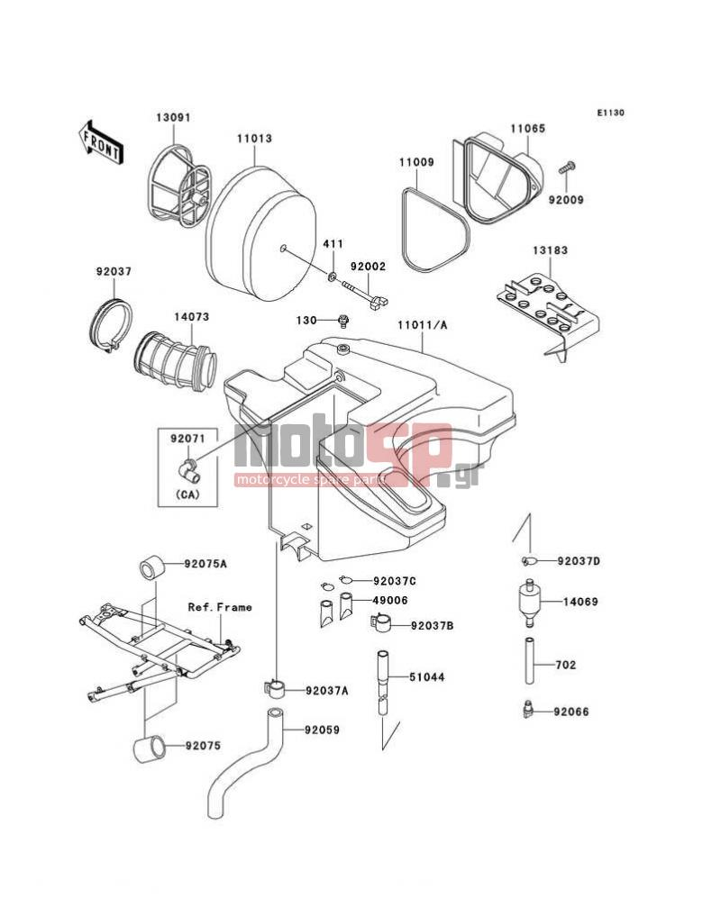 Motosp Kawasaki Klr650 2003 Engine Transmission Replacement Parts Diagram Transmissionair Cleaner