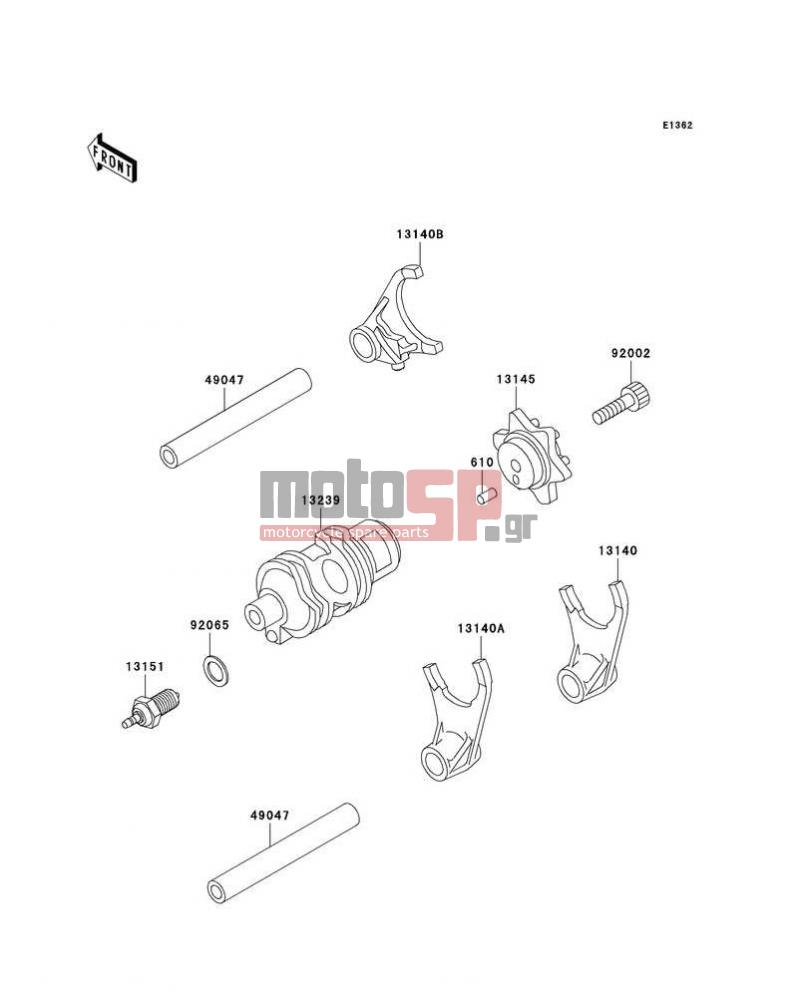 Motosp Kawasaki Klr650 2003 Engine Transmission Replacement Parts Diagram Transmissiongear Change Drum Shift Forks