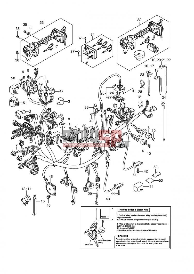 Motosp Suzuki An650a E2 Abs Burgman 2009 Electrical E24 Wiring Diagrams Electricalwiring Harness An650ak6 Ak7