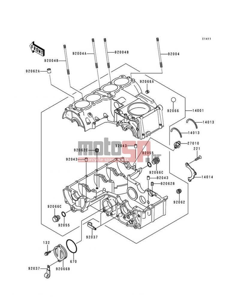 Motosp Kawasaki Zr 7 2000 Replacement Parts 7s Wiring Diagram Crankcase