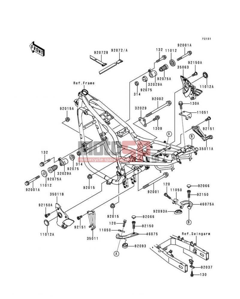 Motosp Kawasaki Zr 7 2000 Replacement Parts 7s Wiring Diagram Frame Fittings